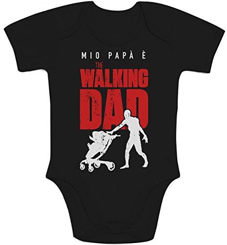Shirtgeil Mio papà è The Walking Dad - Regalo per Fan Serie TV Body Neonato Manica Corta 6-12 Mesi Nero