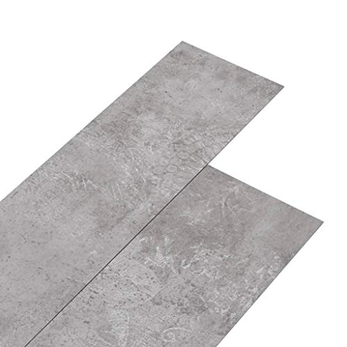 vidaXL PVC Laminat Dielen Vinylboden Vinyl Boden Planken Bodenbelag Fußboden Designboden Dielenboden 5,02m² 2mm Selbstklebend Erdtöne Grau