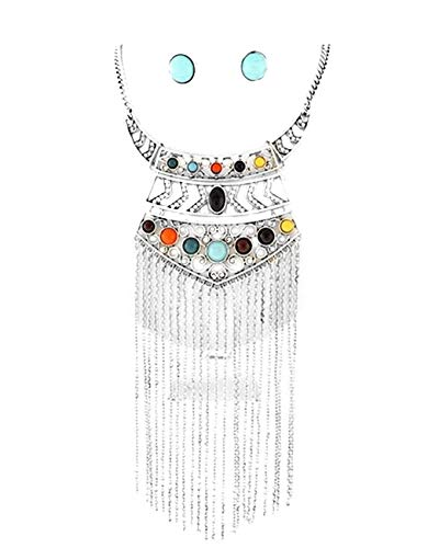 Schmuckanthony Statement Ethno Boho Filigranes Schmuckset Set Kette Collier Necklace Ohrringe Anhänger Kristall Klar lange Silber Ketten Steinen Bunt Acryl Türkis Gelb Grün Braun Orange