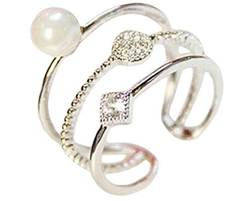 Kanggest Anillo de Plata de Anillo de Perlas Estilo de Tres Niveles de Diamante Perlasimple con Estilo y Elegante Mujeres de Apertura Metal-Ajustable (Plata)