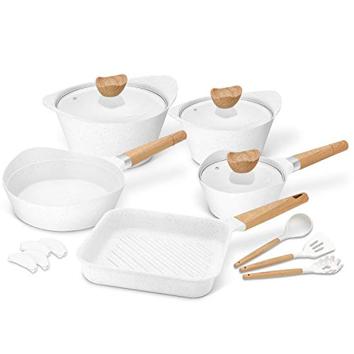 Nonstick Cookware Set 100 PFOA Free Aluminum Induction Pots and Pans Set with Cooking Utensils- 15 - Piece - White