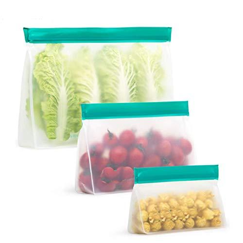 Bolsas de almacenamiento reutilizables de silicona a prueba de fugas, cierre fácil, cierre con cremallera, para comida, sándwich, aperitivos, frutas, 3 unidades