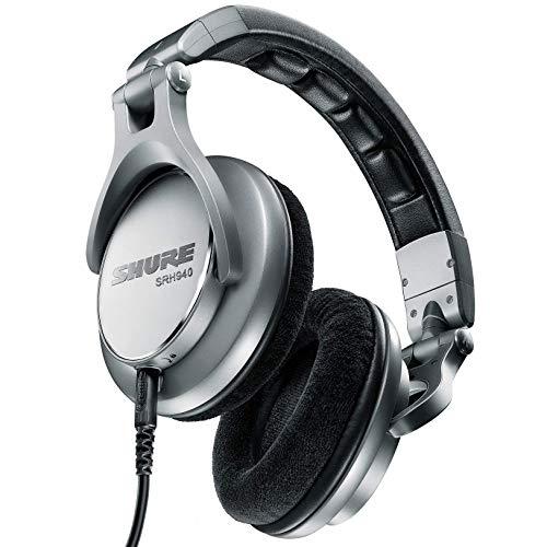 Shure SRH940-E Professionele studio-hoofdtelefoon, inklapbaar, fluwelen overtrek, intrekbare kabel, zwart/zilverkleurig