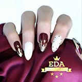 EDA LUXURY BEAUTY BURGUNDY WHITE GOLD FRENCH LUXE DESIGN Press On Nails Full Cover Acrylic Nail Kit Artificial Nail Tips False Nails Extra Long Oval Round Pointed Almond Stiletto Nail Art Fake Nails
