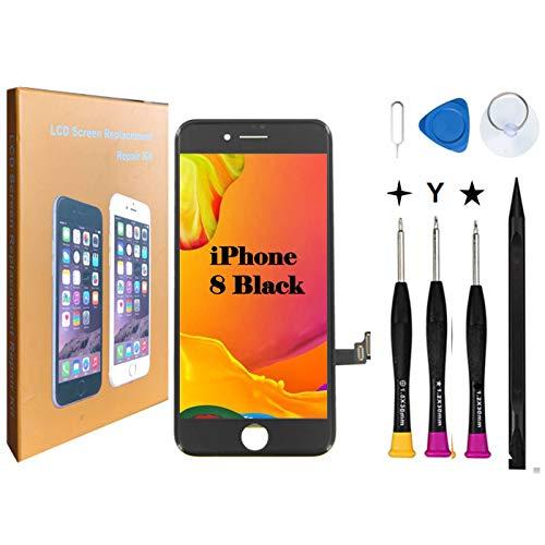 Oli & Ode iphone 8 液晶パネル iphone8 フロントパネル交換 iPhone 8 修理パーツ iphone 8 screen replacement フロントパネル 3D 液晶パネルタッチスクリーン修理交換用 A1863, A1905, A1906 (8 黑)