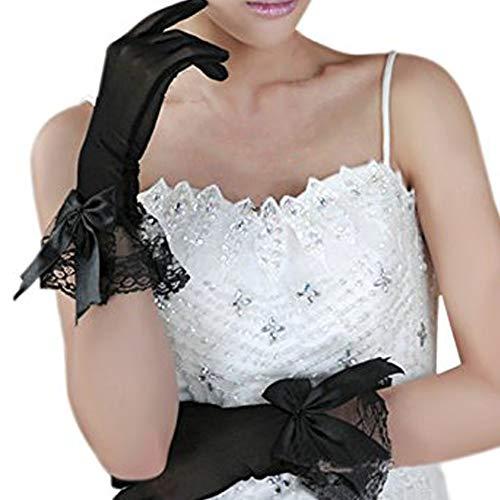 FakeFace Damen voile-spitze elastische netz-garn-partei-hochzeit brautkleid handschuhe kurz Bowknot Schwarz One Size