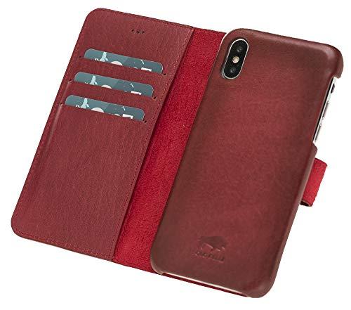 Preisvergleich Produktbild Solo Pelle Lederhülle Clemson kompatibel für das Apple iPhone X / XS inklusive abnehmbare Hülle mit integrierten Kartenfächern (Rot Burned)