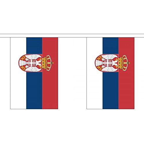 3 M 10 x 15.24 cm (22.86 cm) Cover Backcover Backschale Backcase Backschale Serbische Flagge Serbien Fahne mit Wappen, 100% Polyester, Wimpelkette Ideale Dekoration für Haus Schulen, Kneipen Und Clubs Street