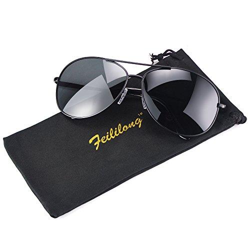 Feililong Prämie Voll Mirrored Pilotenbrille Flieger Sonnenbrille UV400 Schutz Optimal Entwurf Herren und Frauen Aviator Sonnenbrillen (Schwarze Linse/Schwarze Rahmen)