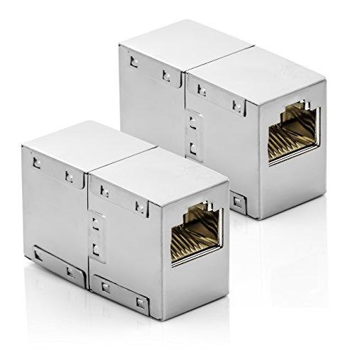 deleyCON 2X Acoplamiento CAT6 RJ45 Cables de Red Cable de Remiendo Cable de Ethernet Adaptador Modular Apantallado 2X Enchufe DSL LAN RJ45