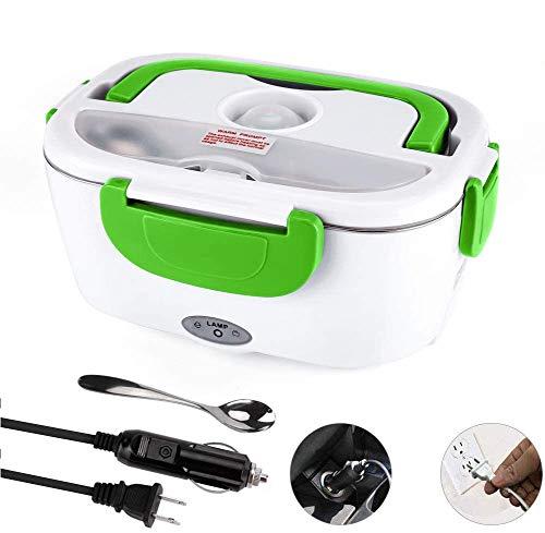 Fiambrera eléctrica para coche y hogar 110 V y 12 V 40 W, calentador de alimentos portátil de acero inoxidable, 1,5 L, cuchara y tenedor de acero inoxidable y 2 compartimentos incluidos.