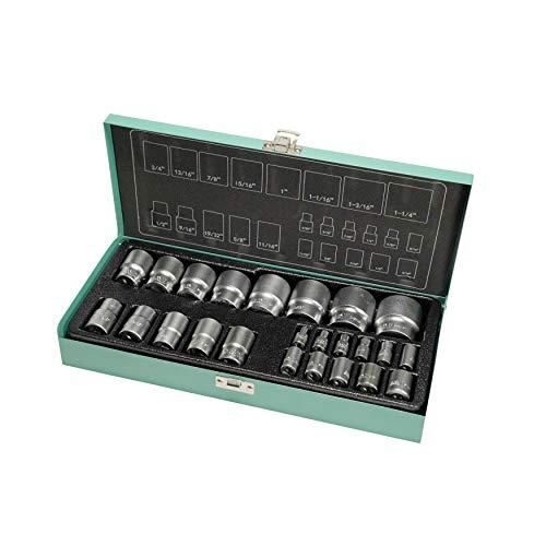 Juego de llaves de vaso de 1/4 y 1/2 pulgadas 24pzs de WIESEMANN 1893 I Insertos de vaso en tamaños de 5/32'-9/16 pulgadas I De la serie ENCORE I Con una práctica caja de herramientas I 81512