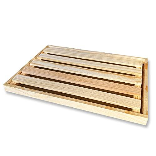 Tabla para cortar pan con recogemigas de pan, tabla de madera para cortar pan con rejilla extraíble para recoger migas de pan, fabricada en madera 32x22x2cm, tablas panera recoge migas para cocina