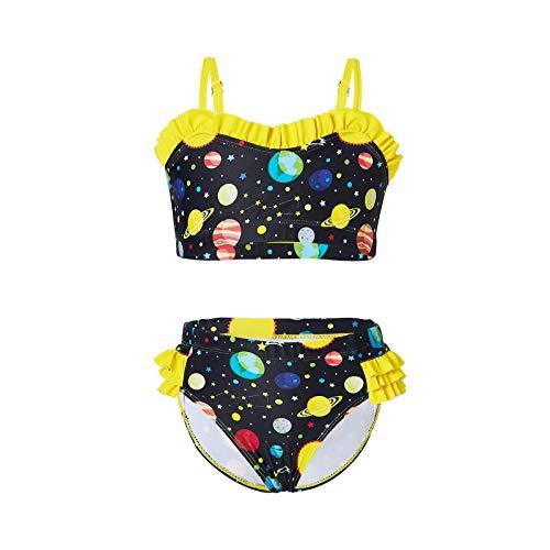 Meijin Traje de baño de verano para niñas de moda con estampado floral de leopardo de dos piezas de cintura alta (color: YE, talla de niño: 1 2 años)
