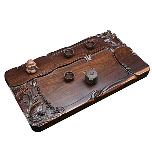 Cheapest Price! Teapots & Coffee Servers/Tea-For-One Sets Black And Ebony Tea Tray Solid Wood Carved...