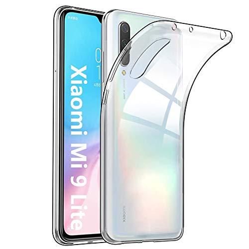 Amonke Funda Xiaomi Mi 9 Lite - Silicona Transparente TPU Carcasa, Flexible Suave Cristal Clear Ultra Slim Antigolpes Antiaraazos Bumper Case Cover para Movil Xiaomi Mi 9 Lite
