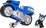 Paw Patrol, Moto Pups Chase's Deluxe Pull Back Motorcycle Vehicle with Wheelie Feature and Figure