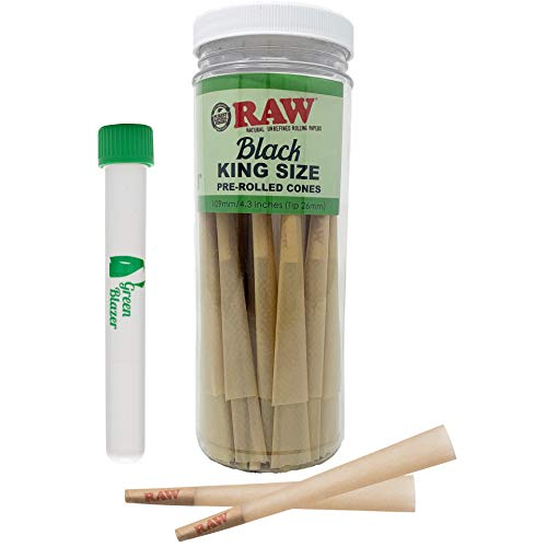 RAW Cones Black Classic King Size: 50 Pack – Double Pressed Extra Fine - Ultra Thin Pre Rolled Cones Rolling Papers with Filter Tips – Includes The Green Blazer Doob Tube