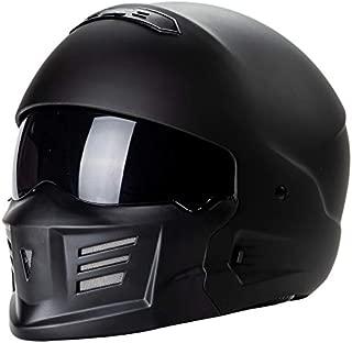 Leoie Professional Full Face Helmet, Lightweight Motorcycle Helmet Off Road Racing Safety Helmets Matte Black XL