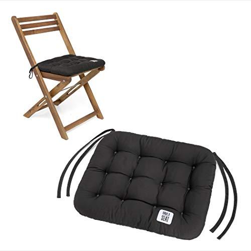 HAVE A SEAT Luxury | Sitzkissen 40 x 35 cm - bequemes Sitzpolster für Klappstühle - waschbar bis 95° C, Trockner geeignet - Made in Germany (2er Set - 40x35 cm, Grau-Anthrazit)
