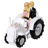 Hucha UDO Schmidt para bodas de oro, pareja de novios en tractor, 13 cm