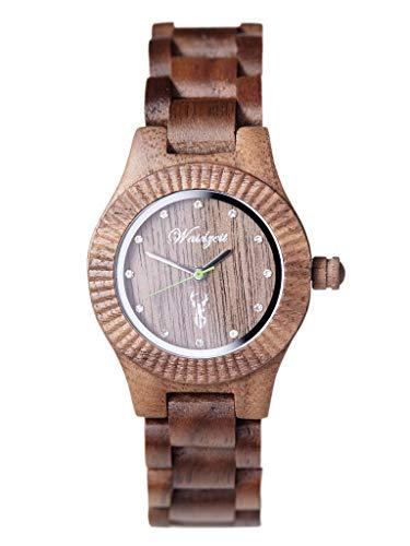 Waidzeit GA03 Premium Gams Uhr Damenuhr Holz Holz Analog Braun