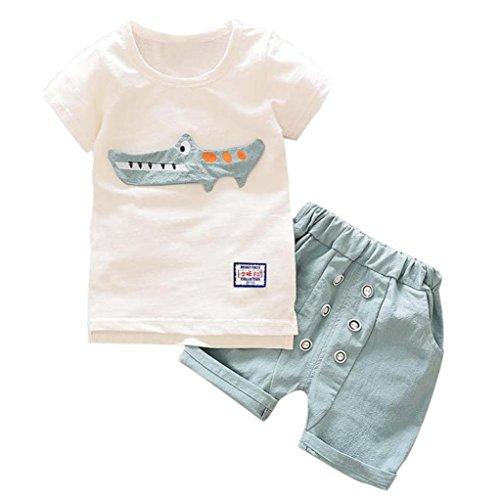 Ensembles de Bébé garçon - Eté Enfant en Bas âge Bébé Garçon Tenue Vêtements Imprimé Cartoon T-Shirt Tops + Shorts Pantalon Set pour Age 1-5 Ans Ba Zha Hei (100/3A, Gris Clair)