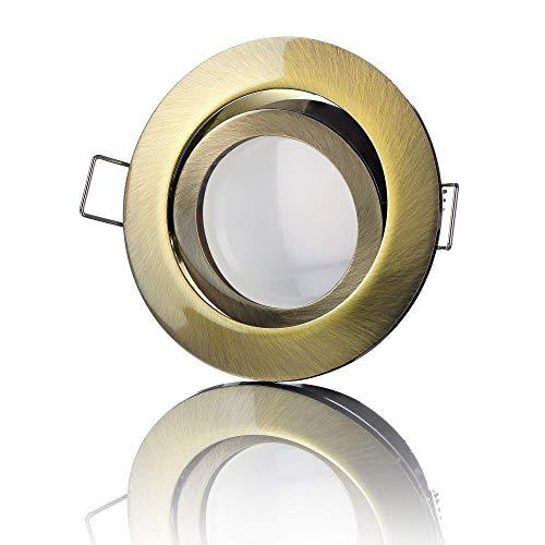 lambado® Premium LED Spots 230V Flach in Altmessing - Hell & Sparsam inkl. 5W Strahler warmweiß dimmbar - Moderne Beleuchtung durch zeitlose Einbaustrahler/Deckenstrahler