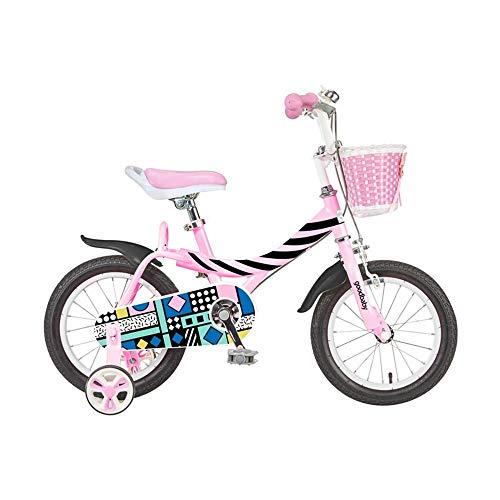 Axdwfd Kinderfietsen, kinderfiets, jongens en meisjes, 12/14/16 inch racefietsen, all-inclusive kettingkast met afneembare steunwielen en mand