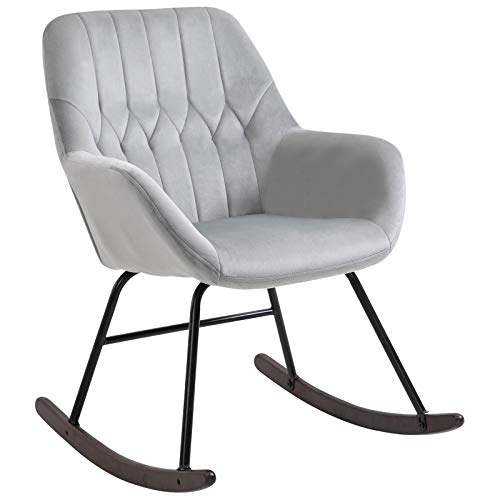 HOMCOM Rocking Chair Reading Accent Armchair with Steel Frame Sponge Padded for Living Room, Dining Room, Office, Balcony, Grey and Black