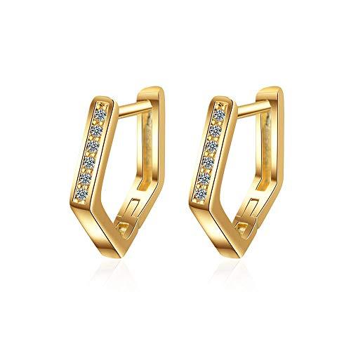 Earrings Women Studs 925 Sterling Silver Zircon Geometric Earrings For Women Earrings Jewelry Gifts-Gold