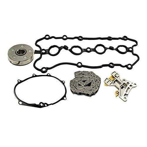 DOEU Juego de 5 piezas para ajustar el árbol de levas de la cadena, kit de reparación de junta tensora + árbol de levas + juego de cadena de distribución OEM # 06F109088J