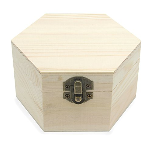 AVESON Plain Unfinished Box, Hexagon Unpainted Wooden Jewelry Box DIY Storage Chest Treasure Case (Side Length 2.5' Height 2.7')