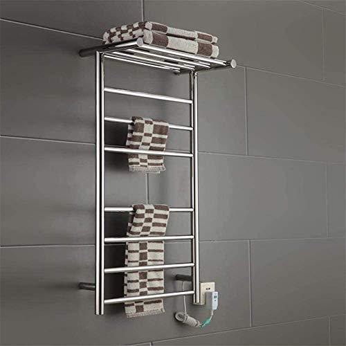 Toallero eléctrico Railleñas de toallas con calefacción Rack de toallas eléctricas, calentador de toalla montado en la pared con estante superior en estantería de toallas con calefacción de níquel cep