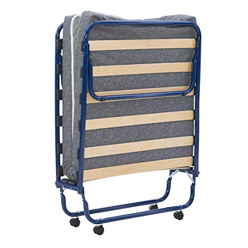 Linon Zio Sleep Blue Rollaway Single Bed Folding, White