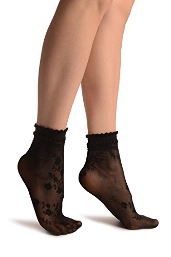 LissKiss Black With Roses And Silky Comfort Top Ankle High Socks - Schwarz Socken Einheitsgroesse (37-42)