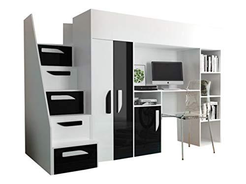 Mirjan24 Hula 14 - Litera para niños, con armario, escritorio y escaleras, varios colores a elegir