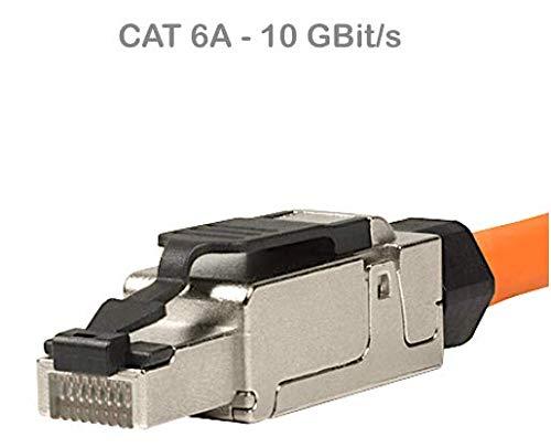 odedo RJ45 Cat 6A Netzwerkstecker feldkonfektionierbar Cat7 geschirmt 10 Gigabit werkzeugfreie Montage mit Zugentlastung, Crimp Stecker Field Terminable Plug (1 Stück)