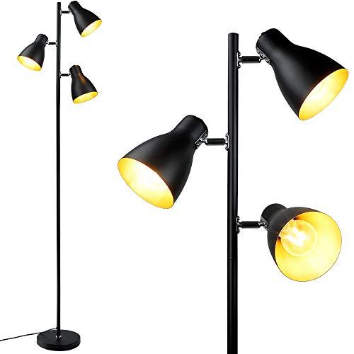 3 Licht Baum Stehlampe Depuley Retro Stehlampe, E27 schwenkbare Stehleuchte mit 3-flammig, Metall Standleuchte deckenfluter schwarz, Lesen Standlampe für Wohnzimmer, Schlafzimmer, Büro, Lesezimmer