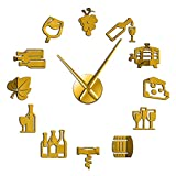 hufeng Reloj de Pared Uvas Vino Alcohol 3D DIY Reloj de Pared Barrido silencioso Amante del Vino Cocina Decoración de Pared Acrílico Efecto Espejo Reloj Reloj Espectáculo Creativo