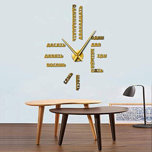GUDOJK Langue étrangère Bricolage Horloge Murale Grand Chiffres Russes soviétiques Grande Horloge Montre Chambre de bébé décoration préscolaire Montre Russe 37inch