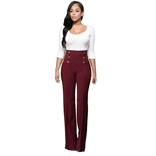 FRAUIT dunne stretchbroek voor dames, hoge taille-oplakbare broek, broek, been, palazzo-lange broeken voor dames