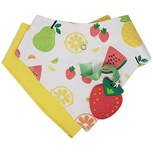 Silli Chews Baby Bandana Drool Bibs with Fruit Teethers for Babies - Absorbent Adjustable Snap Bib for Baby Boys or Girls with Removable Silicone Strawberry Teething Toy & Pacifier Clip