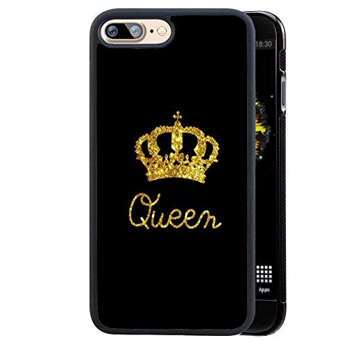 for iPhone 7PLUS/ iPhone 8PLUS Case King Queen Best Friend Lovers Couple Slim Fit Black Cell Phone Accessories Queen & King Design Protective iPhone 7plus/8plus Cases (Queen for iPhone7plus/8plus)