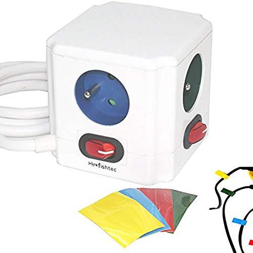 Gekleurde stekkerdozen – schakelaar voor elke uitgang – sticker – normen NF