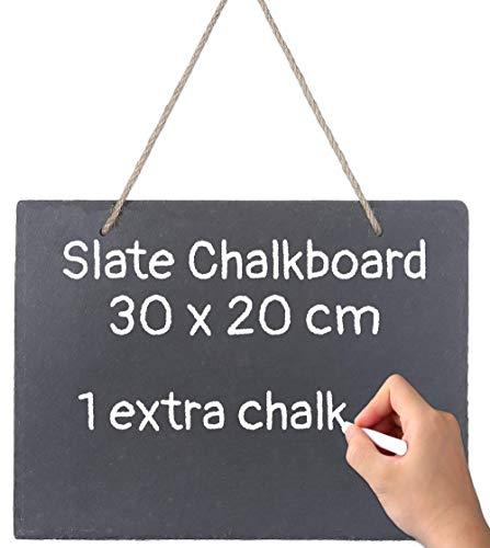 Praknu Schiefertafel zum Beschriften und Aufhängen - 30x20 cm - Wetterfest - Mit Kreide und Juteband