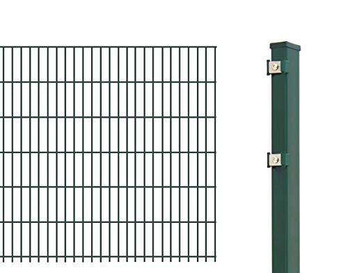 Arvotec Doppelstabmattenzaun als Grundset mit 10 Meter Länge - Zaunset komplett mit Matten, Pfosten und Montagematerial – Höhe & Farbe wählbar (10 m / 830 mm, Grün)