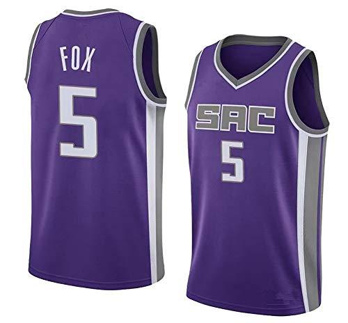 NBA Hombre Jersey,Kings n#5 Fox Ropa de Baloncesto,Camisetas Al Aire Libre Casual Mujer Redondo CháNdales,Purple,M