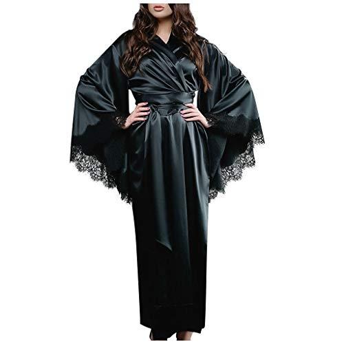 Deloito Damen Freizeit Bequem Bademantel Lace Satin Nachtwäsche Kimono Lange Nachthemd Dessous Leibchen Schlafanzug Zuhause Pyjama Babydoll Unterwäsche (Schwarz,Large)