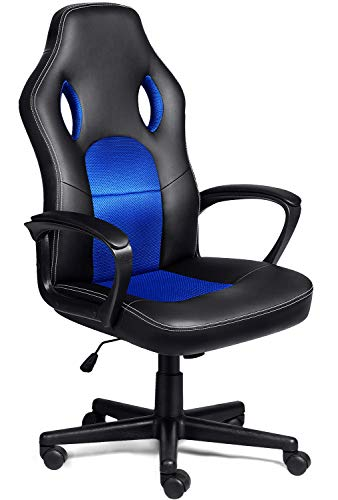 COMHOMA Bürostuhl Chefsessel Racing Chair Drehstuhl ergonomische Rückenlehne Office Stuhl Sitzhöhenverstellung PU Kunstleder Blau